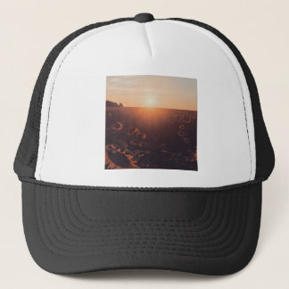 sunflower sunset field clothing trucker hat