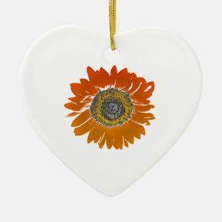 Sunflower Sunshine Ceramic Heart Ornament