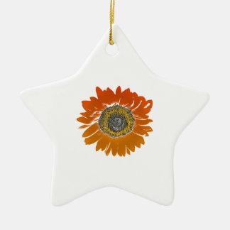 Sunflower Sunshine Ceramic Star Ornament