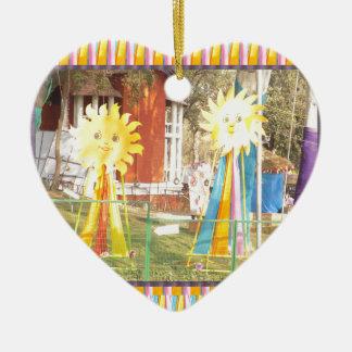 sunflower sunshine decorations festivals celebrati ceramic heart ornament