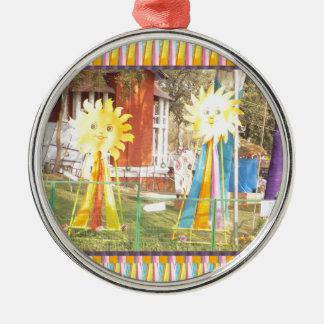sunflower sunshine decorations festivals celebrati Silver-Colored round ornament