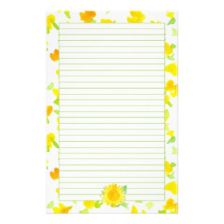 Sunflower Sunshine Yellow Watercolor Flowers Lined Stationery