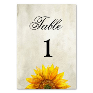 Sunflower table number. Rustic wedding. Country Table Card