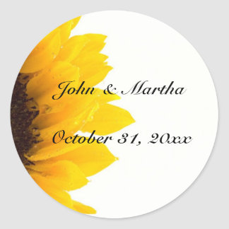 Sunflower template classic round sticker