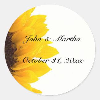 Sunflower template round sticker