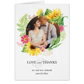 Sunflower Thank You Card with Photo for Wedding