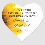 Sunflower Thank You Hearts Wedding Favour Stickers