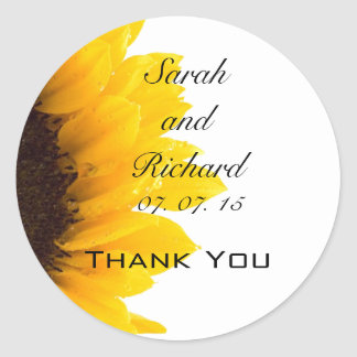 Sunflower Thank You Wedding Favor Stickers