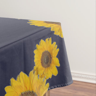 Sunflower trio in dark blue tablecloth