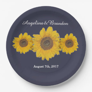 sunflower trio no3 for weddings 9 inch paper plate