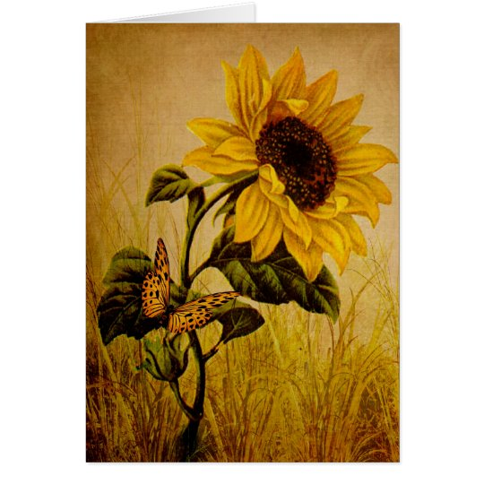 Sunflower Vintage look Style Butterfly Card Autumn