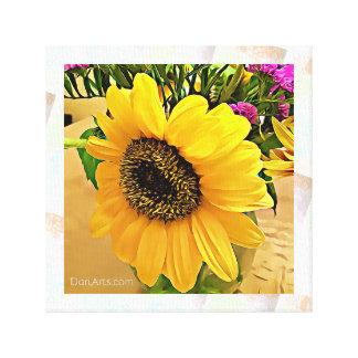 Sunflower wall art, canvas print, yellow, hot pink