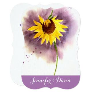 Sunflower Watercolor Custom Wedding Invitation
