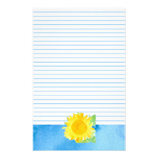 Sunflower Watercolor Painting Blue Lined Stationery