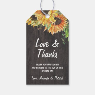 Sunflower Watercolor Rustic Wedding Thank You Gift Tags