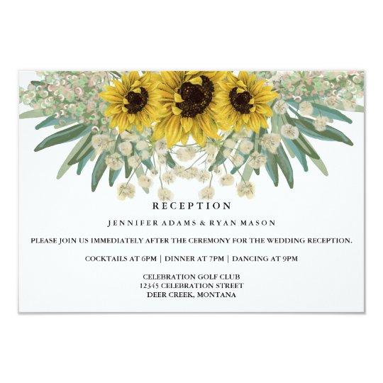 Sunflower Watercolor Wedding Reception Card