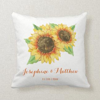 Sunflower Watercolor Wedding Throw Pillow