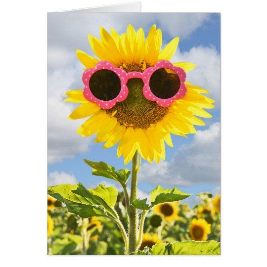 Sunflower wearing pink sunglasses sunflower field card
