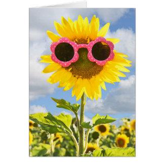 Sunflower wearing pink sunglasses sunflower field greeting card