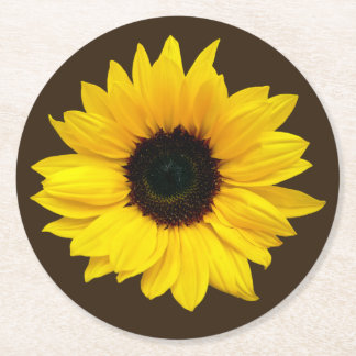 Sunflower Wedding Bridal Shower Brown Yellow Round Paper Coaster