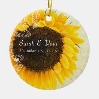 Sunflower Wedding Christmas Ornament
