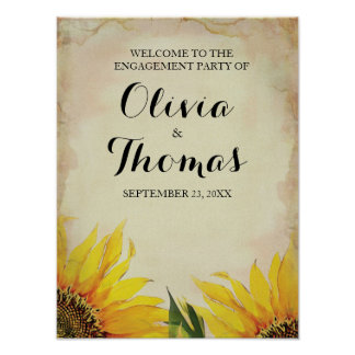 Sunflower Wedding Engagement Party Poster