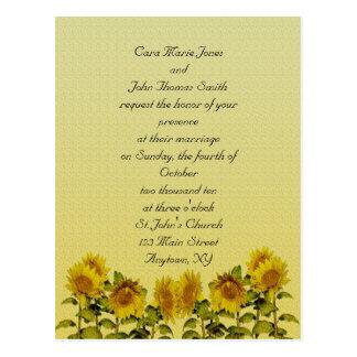 Sunflower  Wedding Invitation Postcard