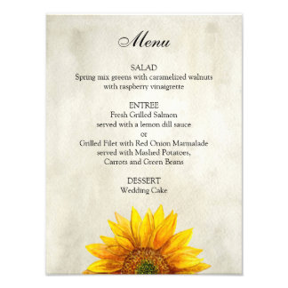Sunflower wedding menu poster. Rustic dinner menu Photo Print