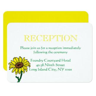 Sunflower Wedding Reception Yellow & Green Flowers Card