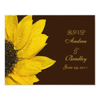 "Sunflower Wedding Response Card 4.25"" X 5.5"" Invitation Card"