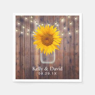 Sunflower Wedding Rustic Barn Wood String Lights Disposable Napkin