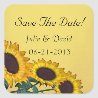 Sunflower Wedding Square Sticker
