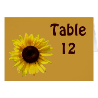 Sunflower Wedding  - Table Number Card