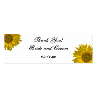 Sunflower Wedding Thank You Favor Tags Double-Sided Mini Business Cards (Pack Of 20)