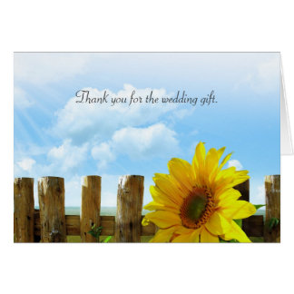 Sunflower Wedding Thank You Messsage Note Card