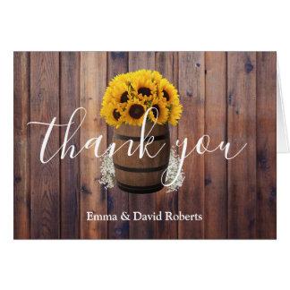 Sunflower Wine Barrel Country Wedding Thank You Card