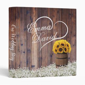 Sunflower Wine Barrel Rustic Floral Wedding Album 3 Ring Binder