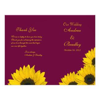 Sunflower Wine Yellow Wedding Program Personalized Flyer
