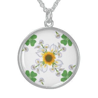 Sunflower with Kalla and luck clover Sterling Silver Necklace