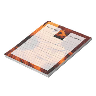 Sunflower with Red Background Oil Painting Notepad