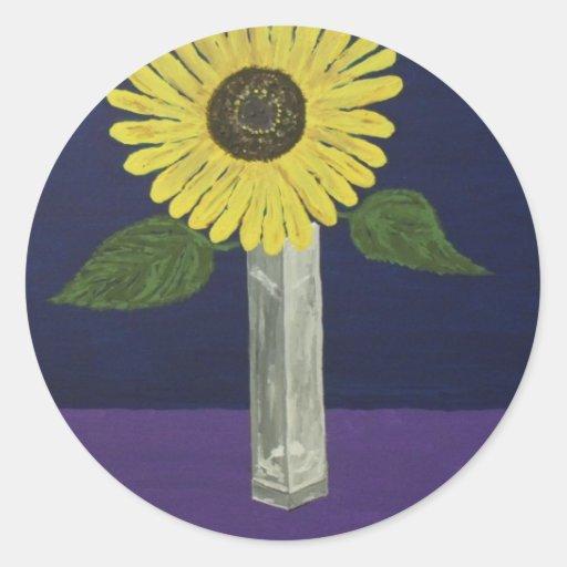 Sunflower with square vase still life sticker
