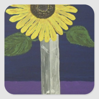 Sunflower with square vase still life stickers
