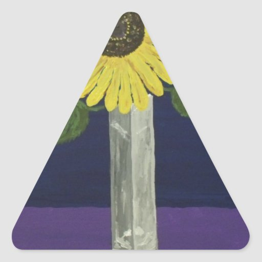 Sunflower with square vase still life triangle sticker
