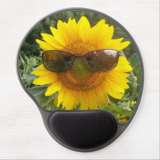 Sunflower with sunglasses mousepad. gel mouse pad