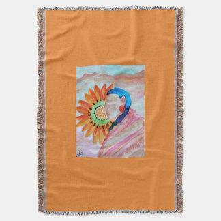 Sunflower woman throw blanket