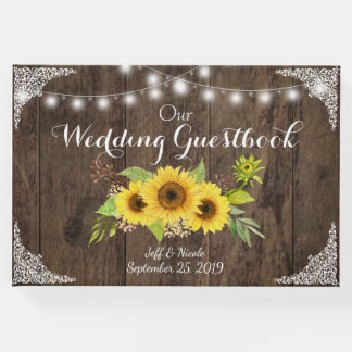 Sunflower Wood Rustic Country Flower Barn Wedding Guest Book