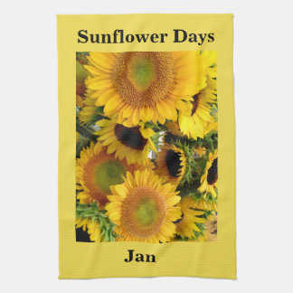 Sunflower Woven Yellow YOUR NAME PHRASE Gift Kitchen Towel