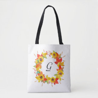 Sunflower Wreath Monogram Tote Bag