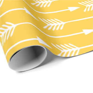 Sunflower Yellow Arrows Pattern Wrapping Paper