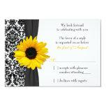 Sunflower Yellow Black Damask Wedding RSVP Reply